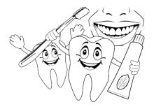 Zähne mit Zahnpasta und Zahnbürste