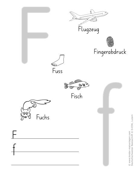 Arbeitsblatt Buchstabe F : Deutschschweizer basisschrift arbeitsblätter