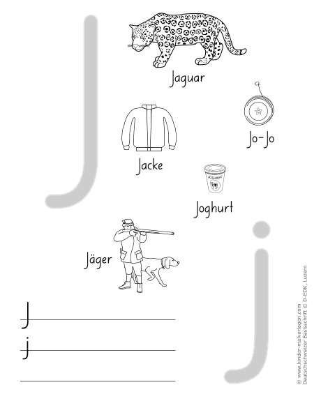 Arbeitsblatt Buchstabe J : Deutschschweizer basisschrift arbeitsblätter