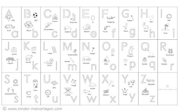 abc-buchstabentafeln a-z ausdrucken lerntafel