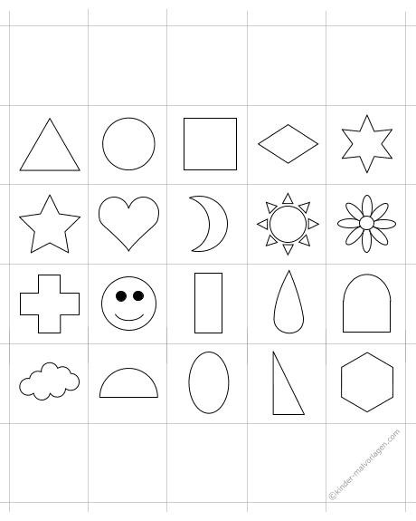 Memo-Spiel Formen und Farben ausdrucken