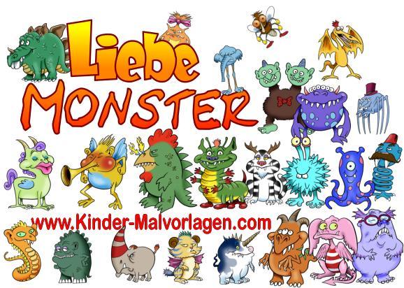 Lustige Liebe Monster Ausmalbilder