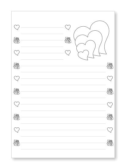 Briefpapier Liebesbrief Herzen kostenlos ausdrucken