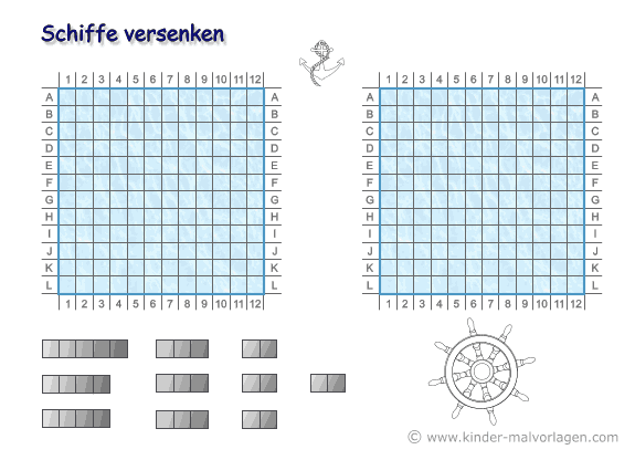 Top Schiffe versenken Spiel Vorlagen ausdrucken A4 JT87