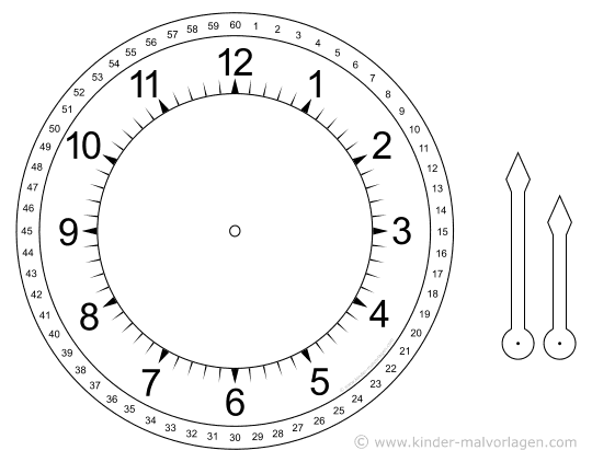 Ziffernblatt druckvorlage  Uhren und Uhrzeit - Arbeitsblätter Lernuhr basteln